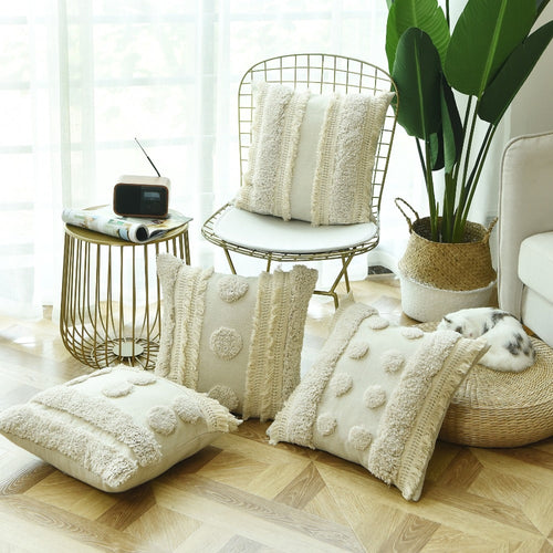 Luxury Handmade Cushion Cover Ivory Tufted Plush Tassels 45*45cm-Quirky Products-crazywomenz