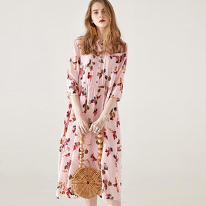 Silk Summer Dress Dusty Pink 100% Pure Silk  New Arrival 2019-Bohemian for all season-crazywomenz