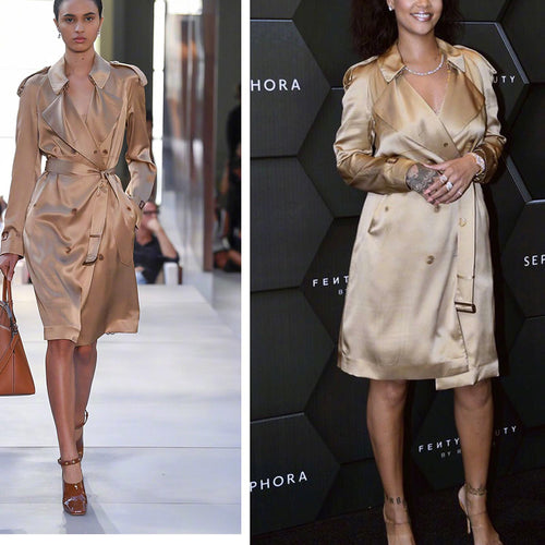 2019 high-end custom made 100% silk khaki trench coat for women-Bohemian for all season-crazywomenz