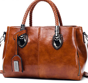 Vintage Oil Wax leather luxury handbags women bags-Beauty Skin & Hair Products-crazywomenz