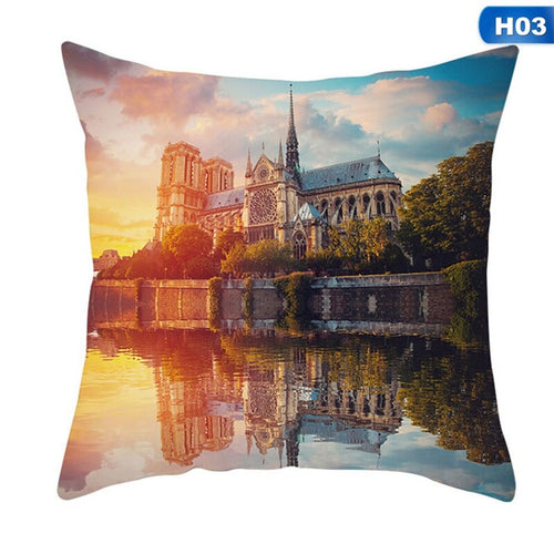 Paris Eiffel Tower Cushion Cover Cotton Decorative Pillow Case-Quirky Products-crazywomenz