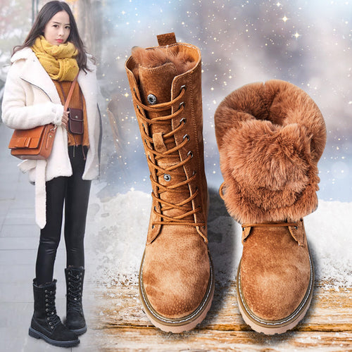 Centenary Square heel boots for women Round Toe women shoes Low (1cm-3cm) winter shoes women Lace-Up furry boots-crazywomenz