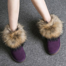 Load image into Gallery viewer, Women Boots Genuine Leather Real Fox Fur Brand Winter Shoes Warm Black Round Toe Casual Plus Size Female Snow Boots New Arrival-crazywomenz