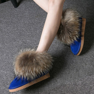 Women Boots Genuine Leather Real Fox Fur Brand Winter Shoes Warm Black Round Toe Casual Plus Size Female Snow Boots New Arrival-crazywomenz