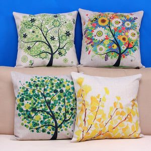 Four seasons plant trees linen / cotton sofa cushion cover-Quirky Products-crazywomenz