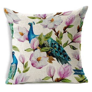 l Boutique Flower Birds Cotton Linen Throw Pillow Case Cushion-Quirky Products-crazywomenz