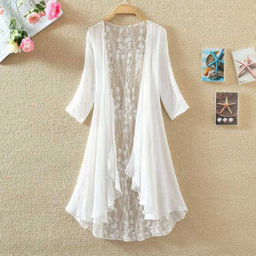Women Chiffon Kimono Cardigan Lace Long Shirt Blouse Ruffles Hollow Out Loose-Bohemian for all season-crazywomenz