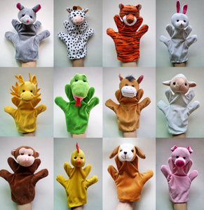 Do you Teach on line 12Pcs/Lot Cartoon Animal Hand Puppets Kids Plush cotton-Quirky Products-crazywomenz