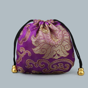 10Pc Chinese Silk Satin Fabric Jewelry Gift Pouch Drawstring-Quirky Products-crazywomenz