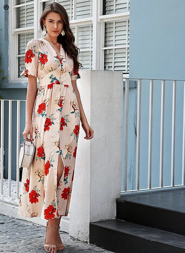 Floral print summer dress long V neck knotted short sleeve maxi dress women-Bohemian for all season-crazywomenz