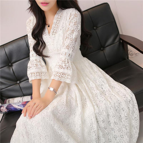 Casual Vintage Elegant Dress Women Maxi Lace Hippie Style-Bohemian for all season-crazywomenz