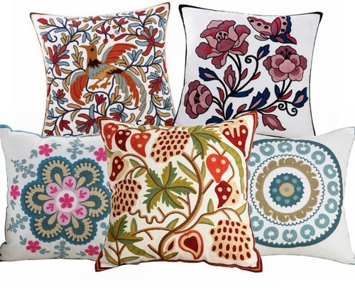 High Quality 100% Cotton Embroidery Flower Pattern Sofa Cushion Cover-Quirky Products-crazywomenz