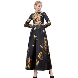 Women Elegant Long Dress Printed Evening Gown Special Occasion-Bohemian for all season-crazywomenz