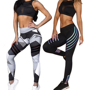 Women Yoga Sets Strip Print Fitness Workout Clothing Gym Running Girls Sexy Slim-sports-crazywomenz