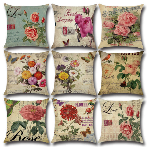American Country Rose Flowers Prints 45*45cm Cushion Cover Linen Throw-Quirky Products-crazywomenz