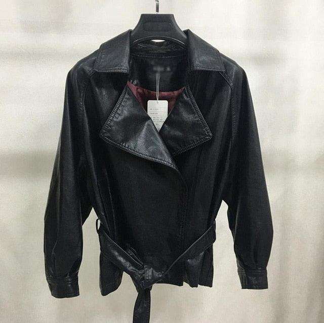 fashion brand PU leather bat style jacket European jacket with belt-Bohemian for all season-crazywomenz