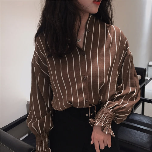 Autumn Vintage Shirts Striped Slim Stand collar Casual Classic Style-Bohemian for all season-crazywomenz