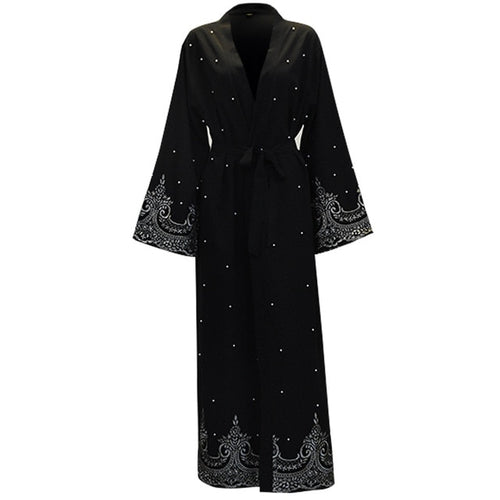 2019 Black Pearls Kaftan Abaya Dubai Turkish-Islamic Abayas & Kaftans-crazywomenz