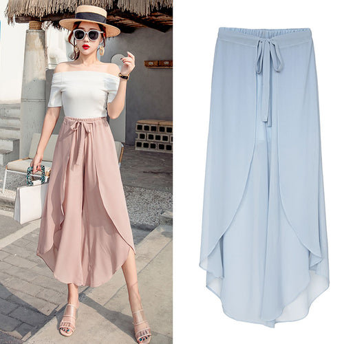 Women Loose Chiffon Wide Leg Pants Casual High Waist Ruffled-Bohemian for all season-crazywomenz