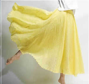 2019 Women Linen Cotton Long Skirts Elastic Waist Pleated Maxi Vintage-Islamic Abayas & Kaftans-crazywomenz