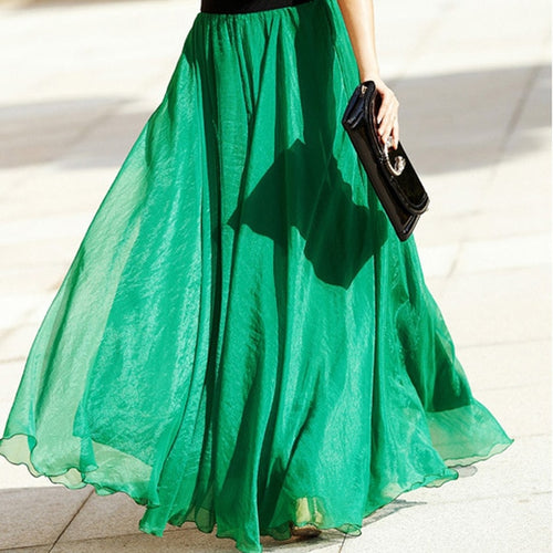 2019 High Waist Women Chiffon Long Skirts Floor Length Ruffles-Bohemian for all season-crazywomenz