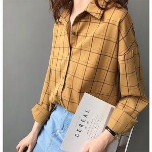 2019 Autumn Plaid Blouse Long Sleeve Blouses Vintage-Bohemian for all season-crazywomenz