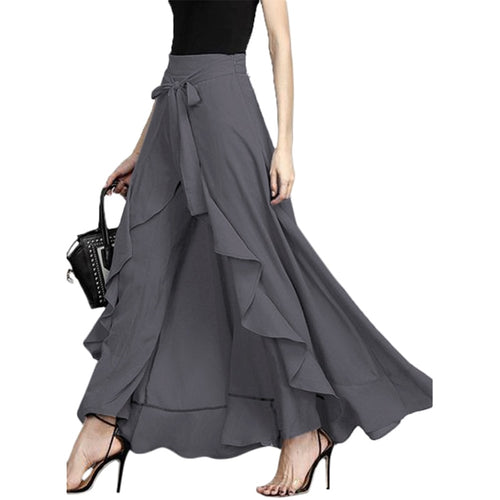 Women Wide Leg Chiffon Tie-Waist Ruffle Pants Solid Color Chiffon Trousers-Bohemian for all season-crazywomenz