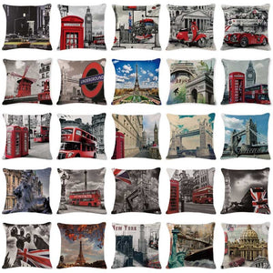 Stylish Cushion Covers Bus World Famous City cushion covers-Quirky Products-crazywomenz