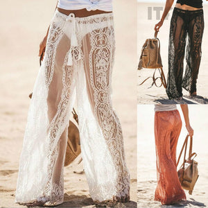 2019 Fashion Summer Club Sexy Women Lace Long Pants Lady Low Waist Loose-Bohemian for all season-crazywomenz
