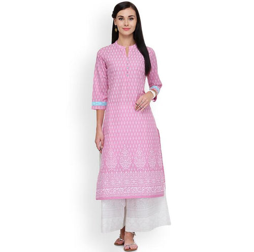 2019 New Style Ethnic Printing Cotton Top Spring Dusty Pink Dress Beautiful Long Top-Islamic Abayas & Kaftans-crazywomenz