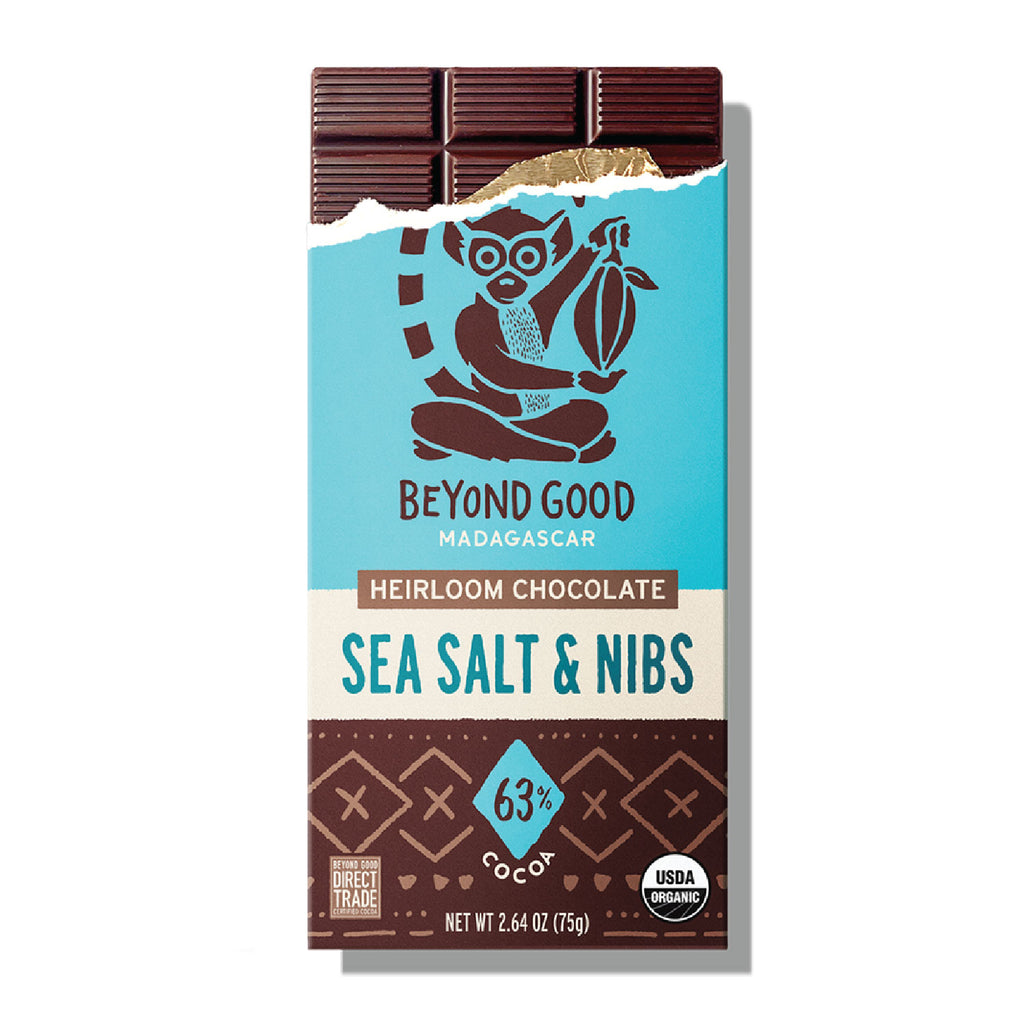 BEYOND GOOD - SEA SALT AND NIBS, 63% SINGLE ORIGIN MADAGASCAR COCOA