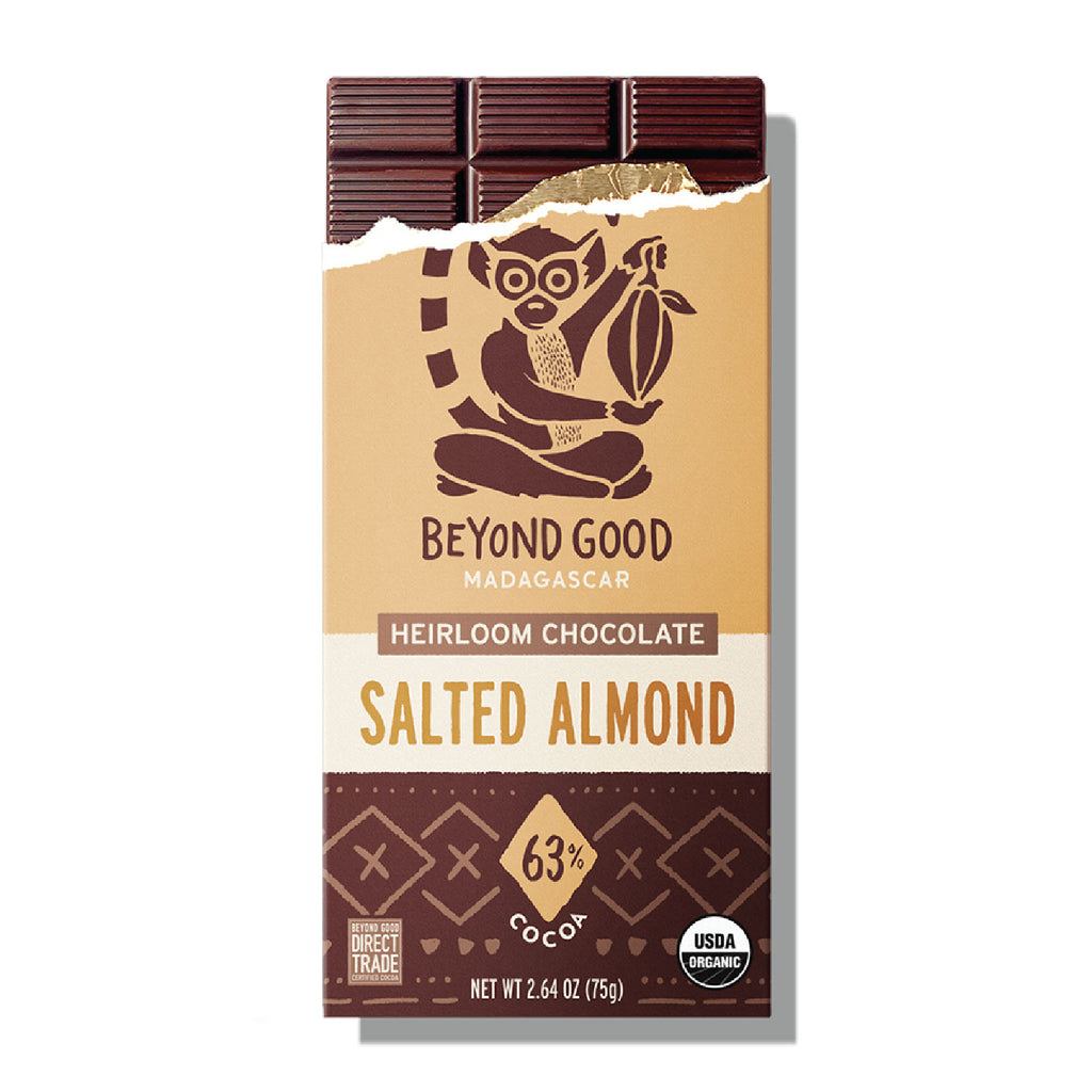 BEYOND GOOD - SALTED ALMOND, 63% SINGLE ORIGIN MADAGASCAR COCOA