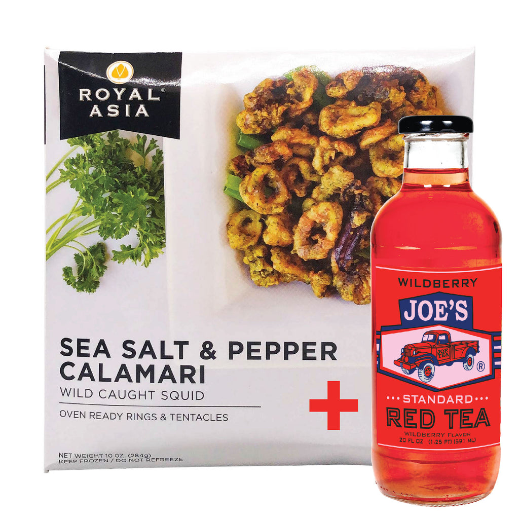 Royal Asia: Sea Salt & Pepper Calamari Wild Caught Squid - 10 oz. + A Bottle Of Standard Wild Berry Tea