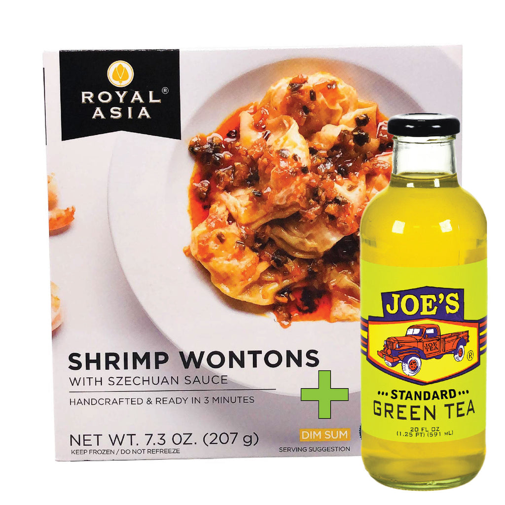 Royal Asia: Shrimp Wonton With Szechuan Sauce - 7.3 oz + A Bottle Of Standard Green Tea
