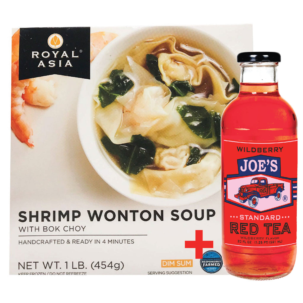 Royal Asia: Shrimp Wonton Soup - 2 bowls + A Bottle Of Wild Berry Red Tea