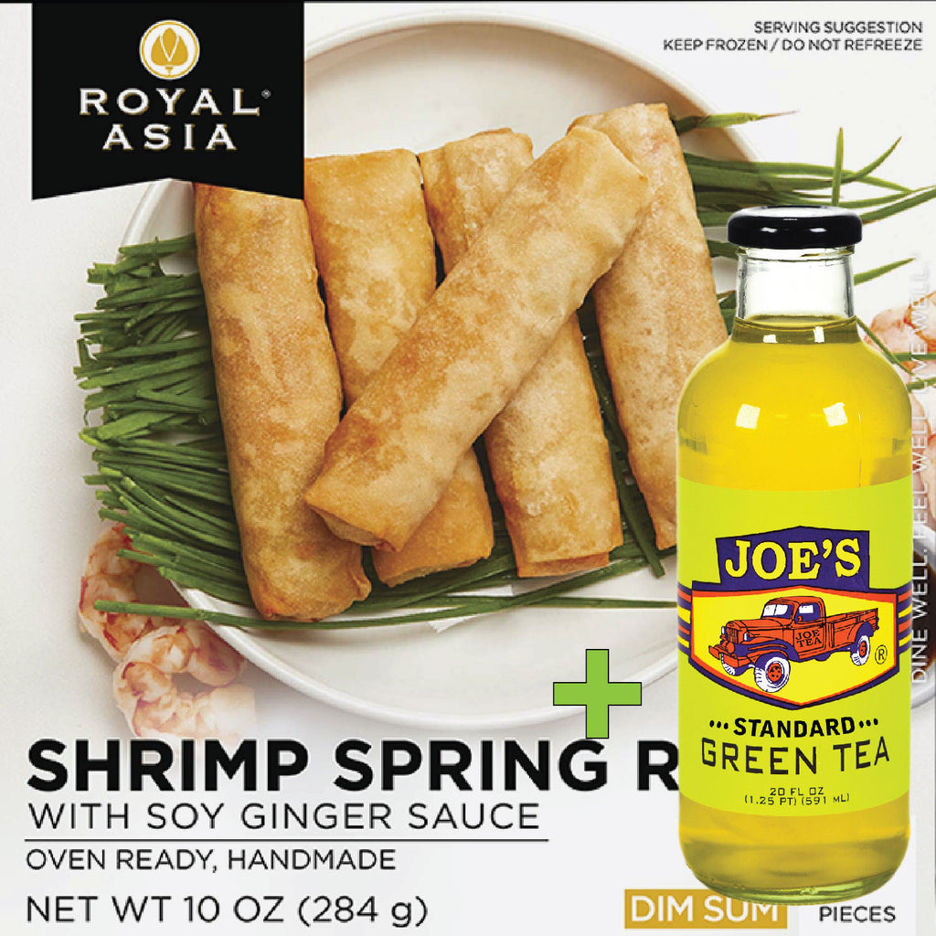 Royal Asia: Shrimp Spring Rolls - 5 Rolls + A Bottle Of Green Standard Tea
