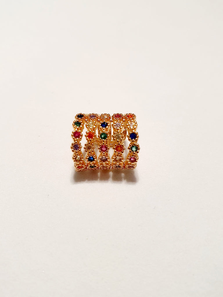 "Ear cuff ""Multi circle"" gold con pietre multicolor"