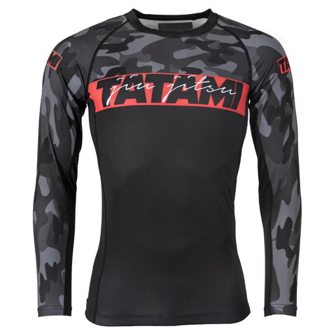 Tatami Fightwear Red Bar Camo Long Sleeve Rash Guard Black/Camo