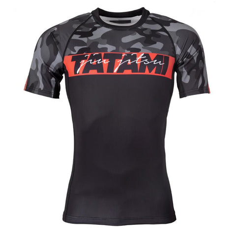 Tatami Fightwear Red Bar Camo Short Sleeve Rash Guard Black/Camo