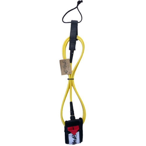 Folly-Co-eco-conscious-6ft-surf-leash-yellow-eco-friendly-surf-shop-efss-sustainable-surfing-gear-yellow-6ft-surf-leash-displayed
