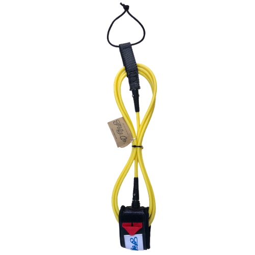 Folly-Co-eco-conscious-9ft-surf-leash-yellow-eco-friendly-surf-shop-efss-sustainable-surfing-gear-yellow-9ft-surf-leash-displayed
