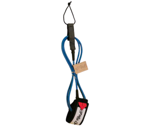 Folly-Co-eco-conscious-surf-leash-blue-eco-friendly-surf-shop-efss-sustainable-surfing-gear-6ft-eco-surf-leash-displayed