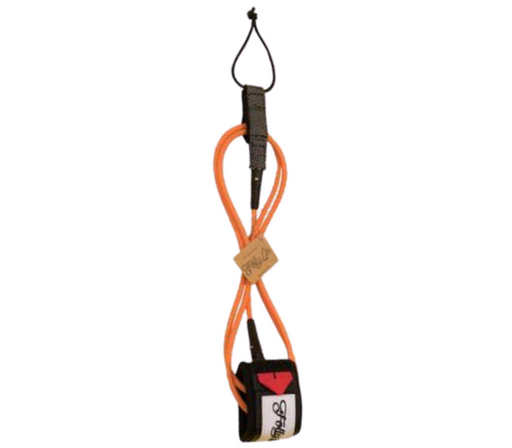 Folly-Co-eco-conscious-surf-leash-orange-eco-friendly-surf-shop-efss-sustainable-surfing-gear-6ft-eco-surf-leash-displayed