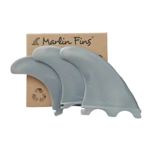Marlin (Futures) Thruster Fins setup with packaging - Deep Thunder colour - Eco Friendly Surf Shop - EFSS