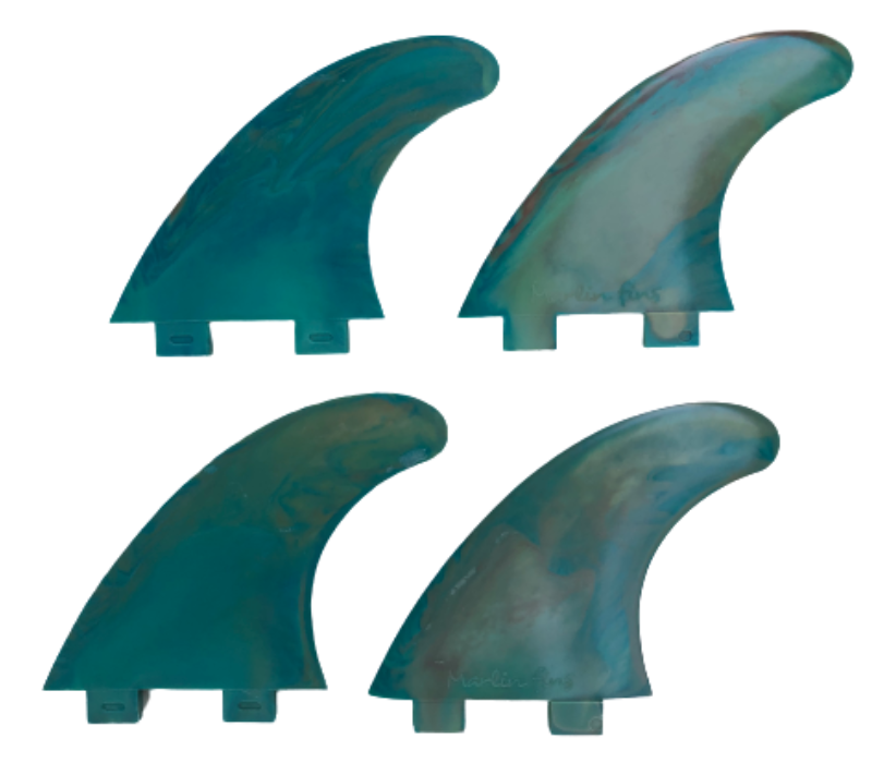 Marlin-Fins-Quad-Fins-coral-reef-eco-Friendly-Surf-Shop-Sustainable-surfing-eco-surfing-recycled-fins-eco-fins-eco-friendly-surfboard-fins-quad-fins-in-2x2-rows-facing-left