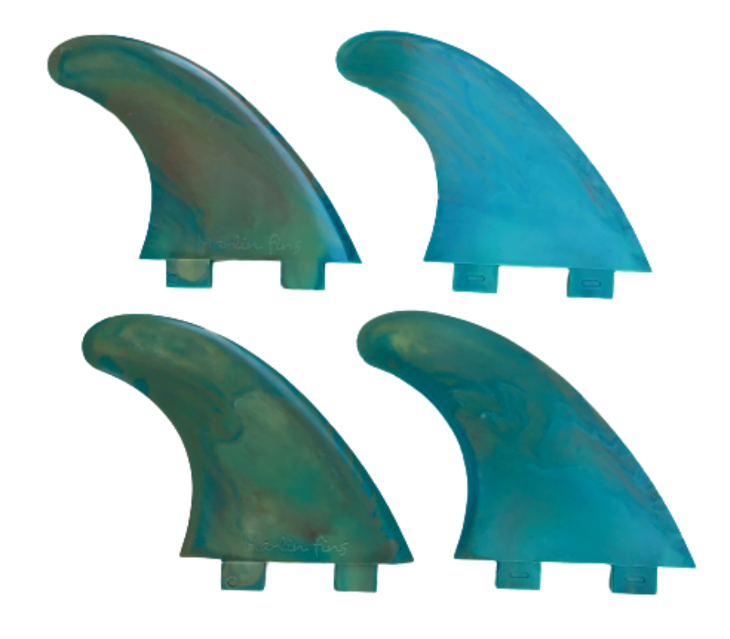 Marlin-Fins-Quad-Fins-coral-reef-eco-Friendly-Surf-Shop-Sustainable-surfing-eco-surfing-recycled-fins-eco-fins-eco-friendly-surfboard-fins-quad-fins-in-2x2-rows-facing-right