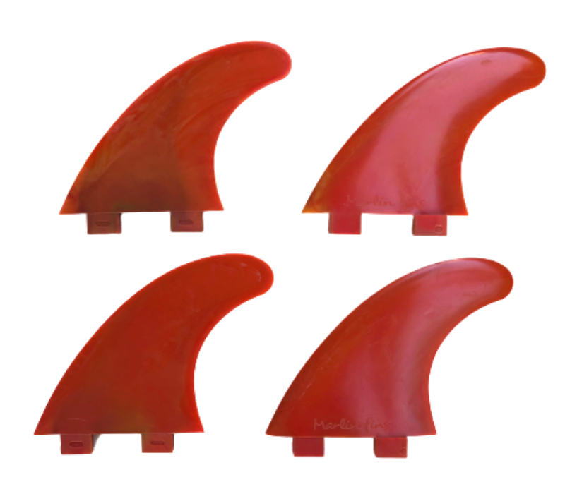 Marlin-Fins-Quad-Fins-volcanic-fire-eco-Friendly-Surf-Shop-Sustainable-surfing-eco-surfing-recycled-fins-eco-fins-eco-friendly-surfboard-fins-quad-fins-in-2x2-rows-facing-left