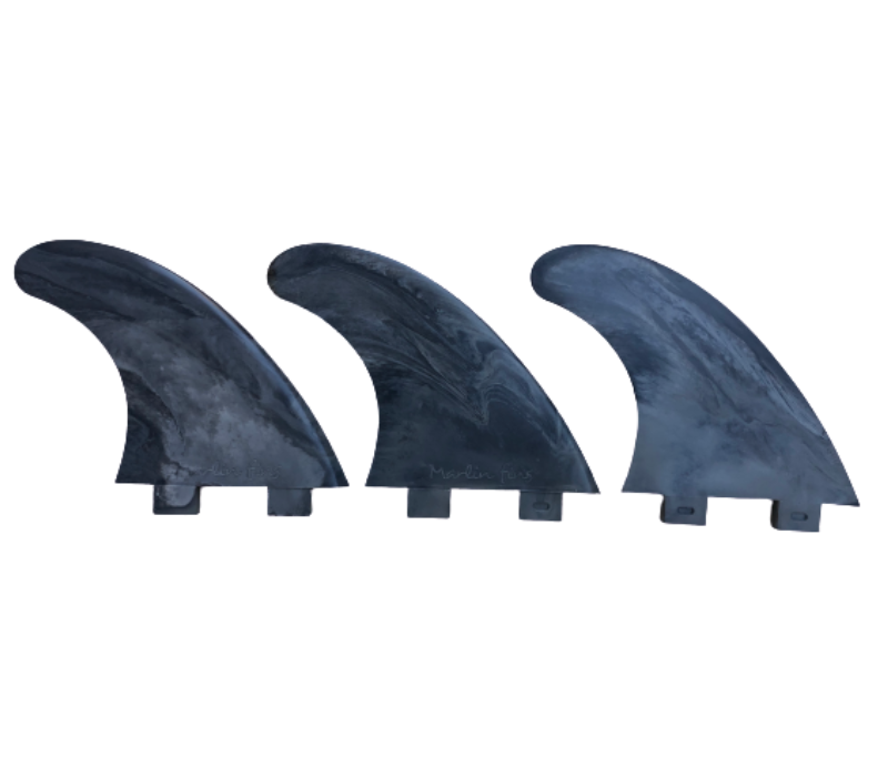 Marlin-Fins-Thruster-Fins-Smoke-Monsta-Eco-Friendly-Surf-Shop-Sustainable-surfing-eco-surfing-recycled-fins-eco-fins-eco-friendly-surfboard-fins-thruster-fins-in-a-row-facing-right