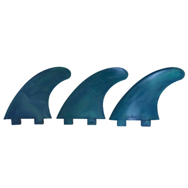 Marlin-Fins-Thruster-Fins-pacific-crush-Eco-Friendly-Surf-Shop-Sustainable-surfing-eco-surfing-recycled-fins-eco-fins-eco-friendly-surfboard-fins-in-a-row-facing-left.