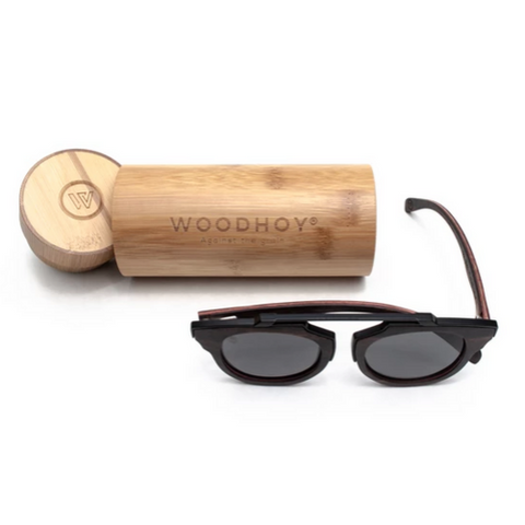 Insoliti Sospetti by Woodhoy - Eco friendly wooden sunglasses - eco friendly surf shop - eco wood sunglasses with round carry case